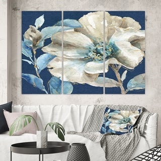 Designart 'Indigold Watercolor Flower I' Farmhouse Gallery-wrapped Canvas