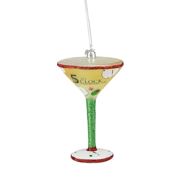 """Happy Hour Mouth Blown Glass """"It's 5 O'Clock Somewhere-Tini"""" Christmas Ornament"""
