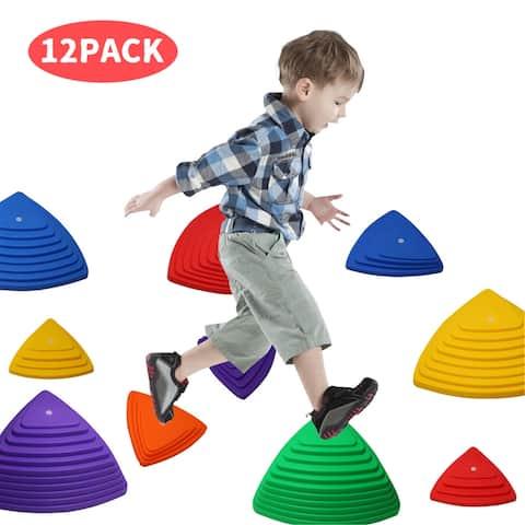 12 Balance Stepping Stones for Kids Educational River Stone Set - Multi