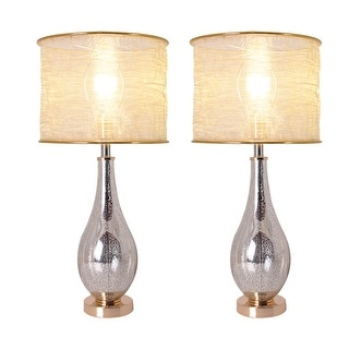 """Link to Tulip 28"""" Table Lamp with Foldable & Translucent Golden Yarn Lampshade (Set of 2) Similar Items in Table Lamps"""