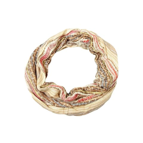 Collection Eighteen Women's Sequined Woven Fringe Infinity Scarf - Rose Dust - One Size Fits Most