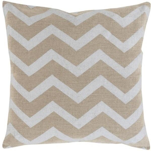 "22"" Dove Gray and Camel Brown Chevron Hand Woven Decorative Throw Pillow-Down Filler"