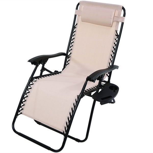 Sunnydaze Beige Oversized Zero Gravity Lounge Chair