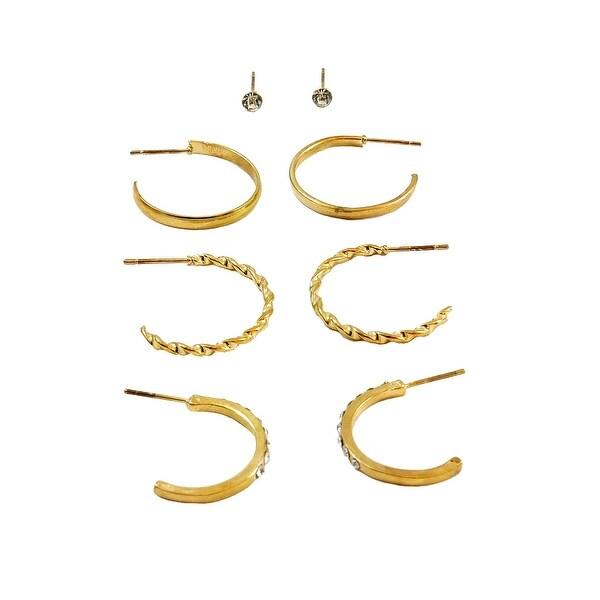 Multi Earrings Set Mini Hoop Trio Single Stone Post, Gold