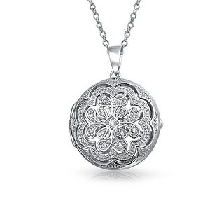 Bling Jewelry Pave CZ Vintage Style Flower Locket Pendant Sterling Silver Necklace 18 Inches