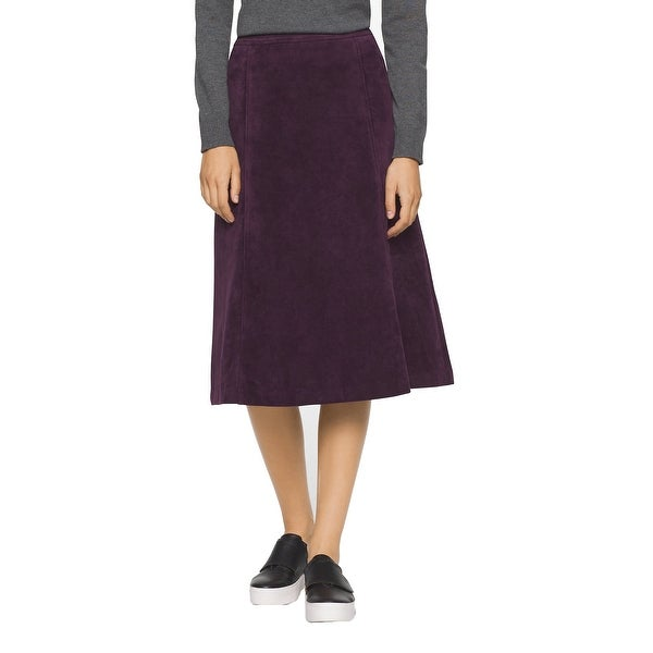 5ecb32d03a Shop Calvin Klein Faux Suede Aubergine Purple A-Line Midi-Skirt, Aubergine,  8 - Free Shipping On Orders Over $45 - Overstock - 19402249
