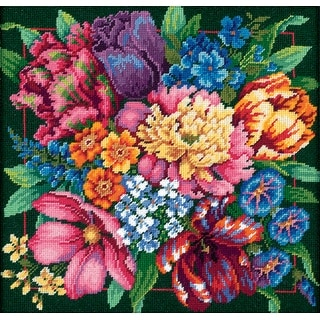 "Floral Splendor Needlepoint Kit-14""X14"" Stitched In Yarn"
