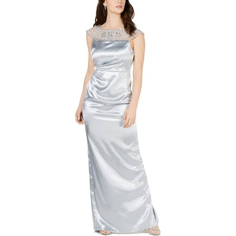 Adrianna Papell Womens Petites Evening Dress Satin Embellished - Icy Mint