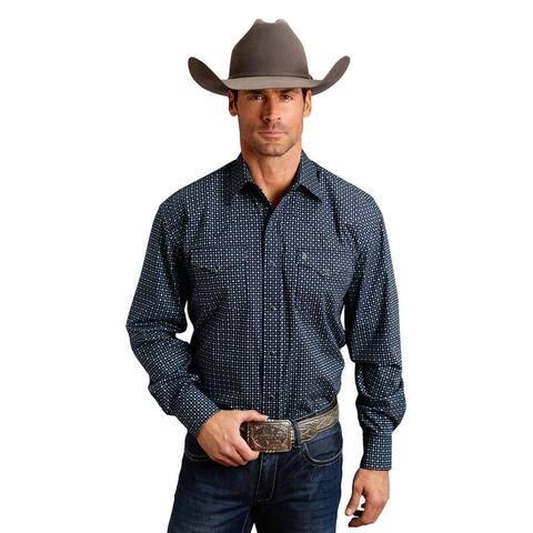 Stetson Western Shirt Mens Print L/S Blue