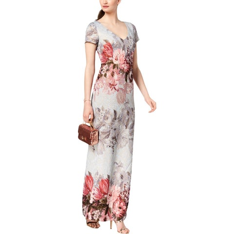 Adrianna Papell Womens Formal Dress Matelasse Floral Print