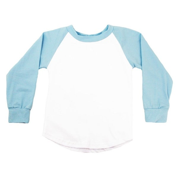 Unisex Baby Light Blue Two Tone Long Sleeve Raglan Baseball T-Shirt 6-12M