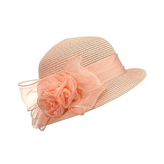 Gravity Threads Satin Ribbon Triple Rose Brim Cloche Bucket Hat