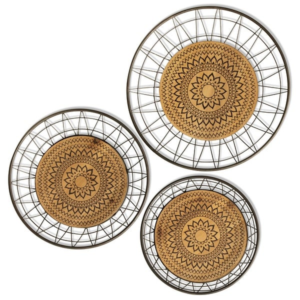 """StyleCraft SC-WI432732 Multiple Sized """"Aztec Rings"""" Metal Patterns and Designs Wall Sculpture - Set of (3) - Natural"""