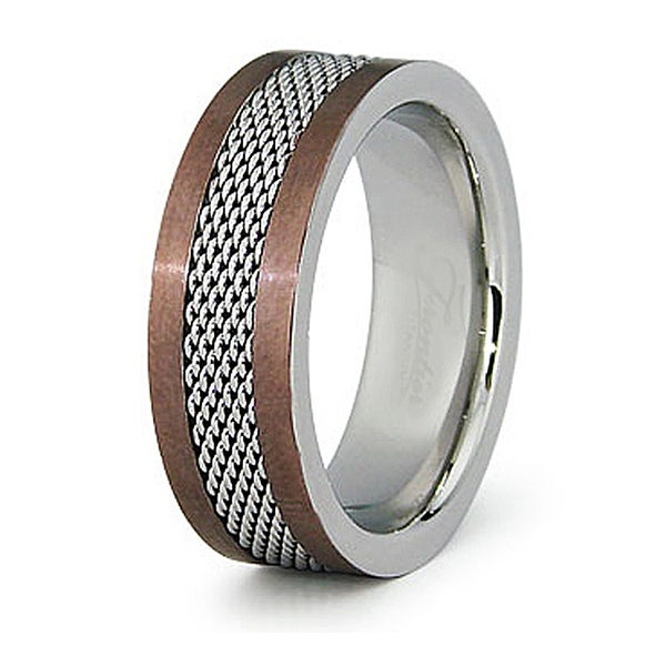 8mm Stainless Steel Espresso Plated Ring with Polished Mesh Center (Sizes 8-13)
