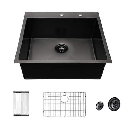 "28x22 inch Kitchen Sink Topmount Gunmetal Matte Black 16 Gauge Deep Single Bowl Stainless Steel Sink Basin - 28""x 22""x 10"""