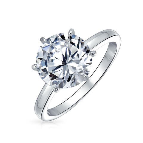 3CT Solitaire CZ Engagement Ring Sterling Silver Rose Gold Plated