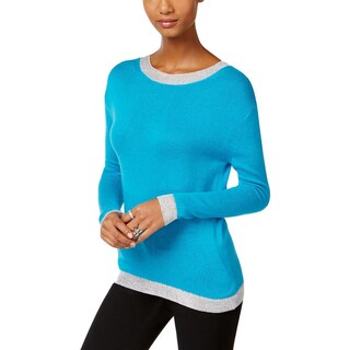 MICHAEL Michael Kors Womens Petites Sweater Metallic Long Sleeves - pl
