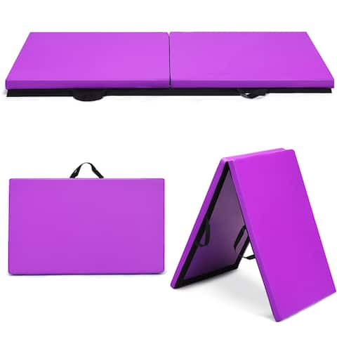 Costway 6''x 2''Gymnastics Yoga Mat Thick Two Folding Panel Gym Purple