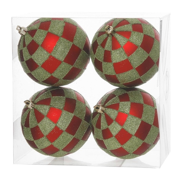 """Pack of 4 Red Matte & Lime Green Glitter Checkered Christmas Ball Ornaments 4.75"""" (121mm)"""