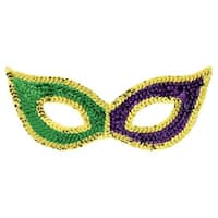 Green  Purple and Gold 3 in. x 7 in. Mardi Gras Sequin Cat Mask -