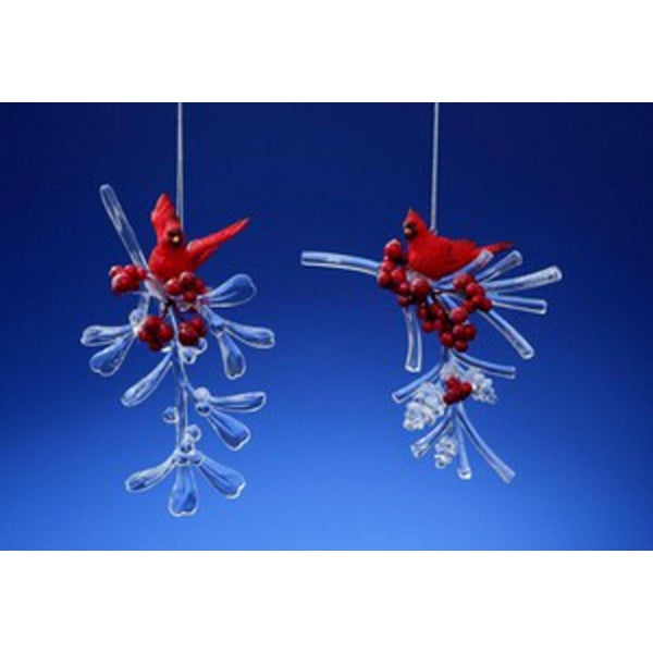 """Club Pack of 12 Icy Crystal Decorative Cardinal Berry Branches Ornaments 4"""" - RED"""