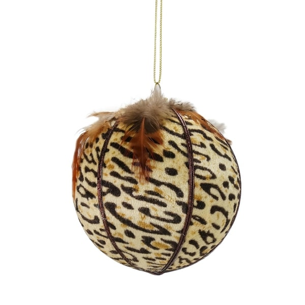 "Diva Safari Cheetah Print with Feathers Ball Christmas Ornament 4"" (100mm)"