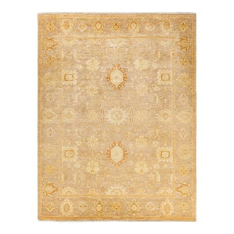 """Eclectic, One-of-a-Kind Hand-Knotted Area Rug - Yellow, 8' 0"""" x 10' 6"""" - 8'0"""" x 10'6"""""""