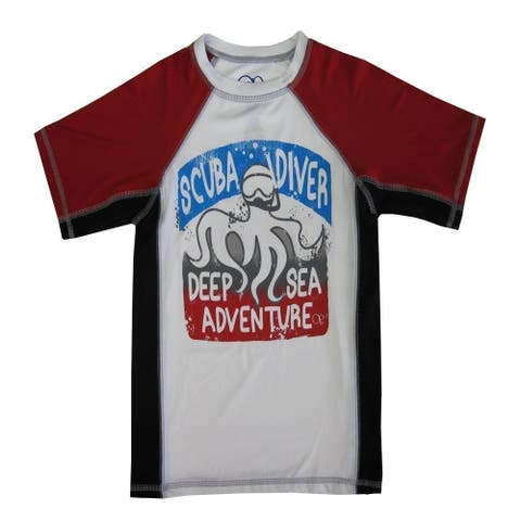 "OP Boys White Red ""Scuba Diver"" Print Short Sleeve Rashguard"