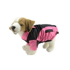 Pink and Black Fleece Lined Water and Wind Resistant Reversible Dog Jacket - Large