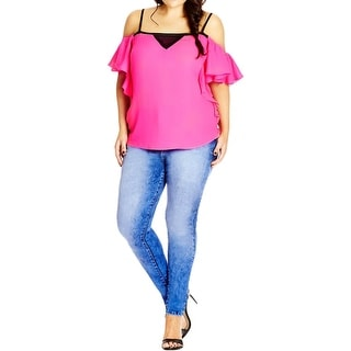 City Chic Womens Plus Casual Top Contrast Trim Ruffled