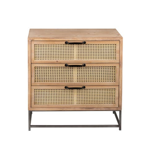 Home View Design Wooden Storage Cabinet w/3 Rattan Drawers, 29.8-in H