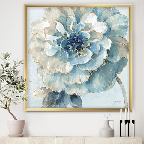 Designart 'Indigold Watercolor Flower II' Farmhouse Framed Art Print