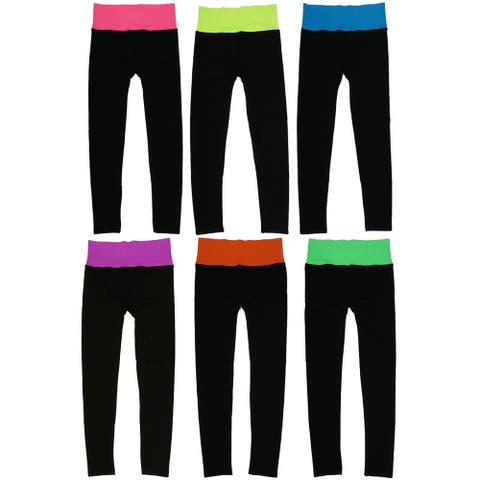 Womens' Fold Over Waistband Sports Leggings (6 Pack) Free Size