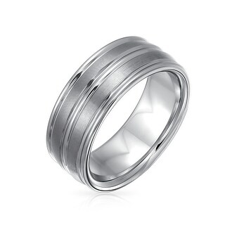 Double Groove Tungsten Men's Comfort Fit Wedding Band Ring 8mm