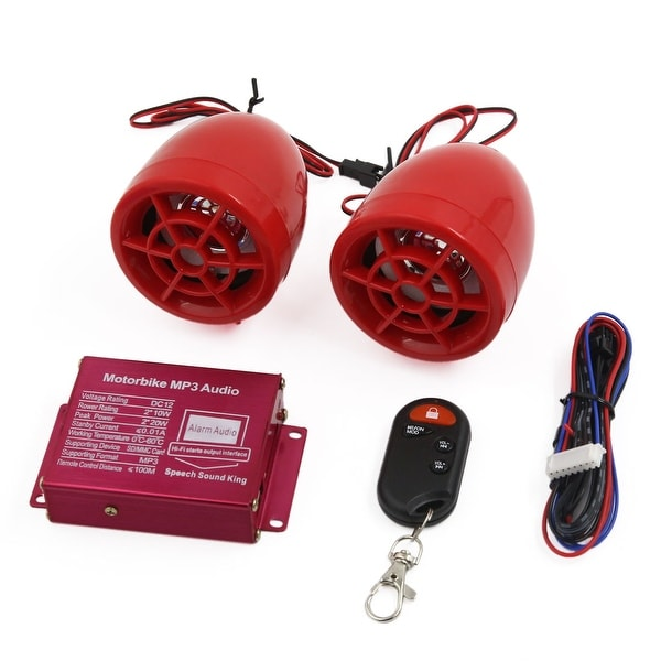 Unique Bargains Red Motorcycle Motorbike MP3 Amplifier Speaker Alarm Audio Stereo Player 2Pcs