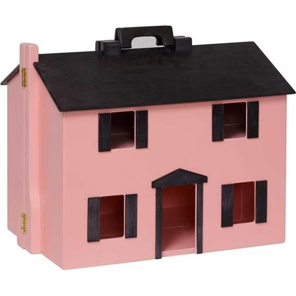 Wooden Folding Doll House With Black Roof Pink Free Shipping Today 24023569