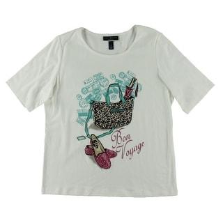 Karen Scott Womens Plus Embellished Graphic T-Shirt
