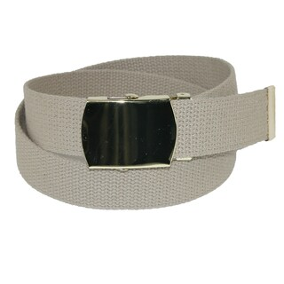 CTM® Kids' Cotton Adjustable Belt with Brass Military Buckle (Pack of 2)