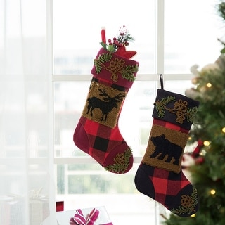 """Link to Glitzhome 19""""L Plaid Hooked Stocking Reindeer Bear Similar Items in Christmas Decorations"""