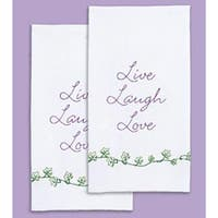 """Live; Laugh; Love - Stamped White Decorative Hand Towel Pair 17""""X28"""""""