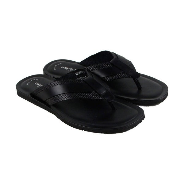 Kenneth Cole New York Design 108392 Mens Black Leather Flip Flops Sandals Shoes
