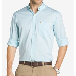 IZOD NEW Blue Mens Size Small S Non-Iron Button Down Long-Sleeve Shirt