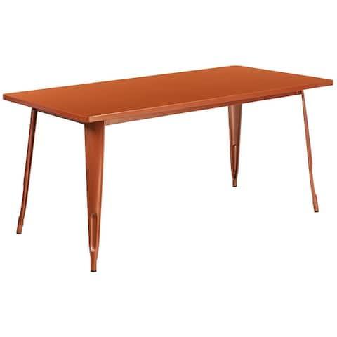 """31.5"""" x 63"""" Rectangular Mint Green Metal Indoor-Outdoor Table - Industrial Table"""
