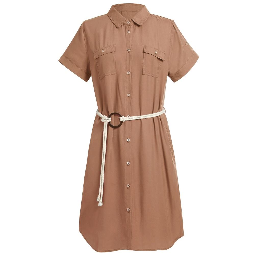 Womens Short Sleeve Midi Dress Belted Tencel Shirt Dress for Summer