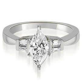 0.95 cttw. 14K White Gold Marquise And Baguette 3-Stone Diamond Engagement Ring