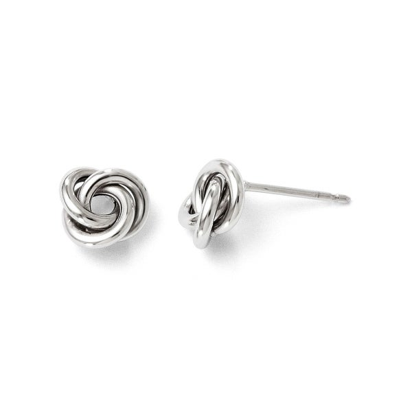 Italian 10k White Gold Polished Post Earrings