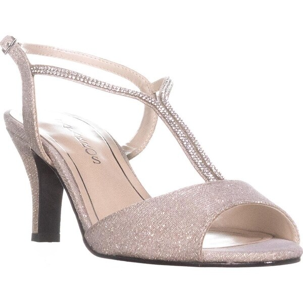 Caparros Delicia Sparkle T-Strap Peep Toe Dress Sandals, Nude Glimmer