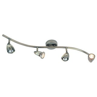 Trans Globe Lighting 466 Four Light Wave Track Light from the Modern Track Collection - Brushed Nickel
