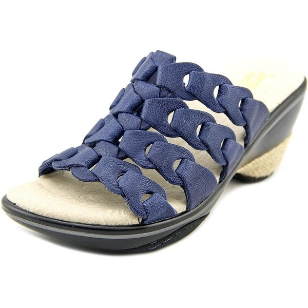 Jambu Romance Women Open Toe Leather Blue Slides Sandal