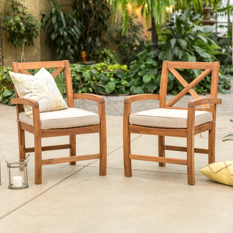 Surfside X-back Acacia Outdoor Chairs (Set of 2) by Havenside Home
